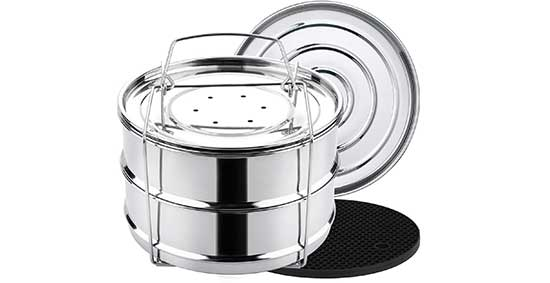 Aozita Stackable Steamer Insert Pans with Sling for Instant Pot
