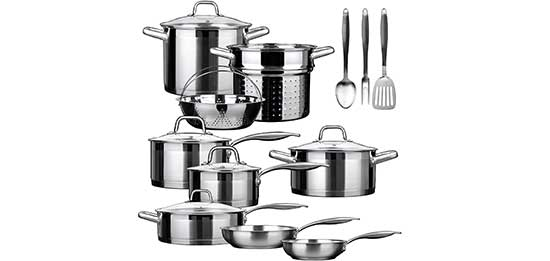 Duxtop SSIB-17 Professional 17 Pieces Cookware Set